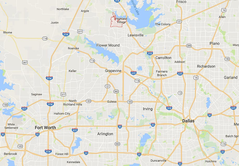Highland Village Tx Real Estate Area Map