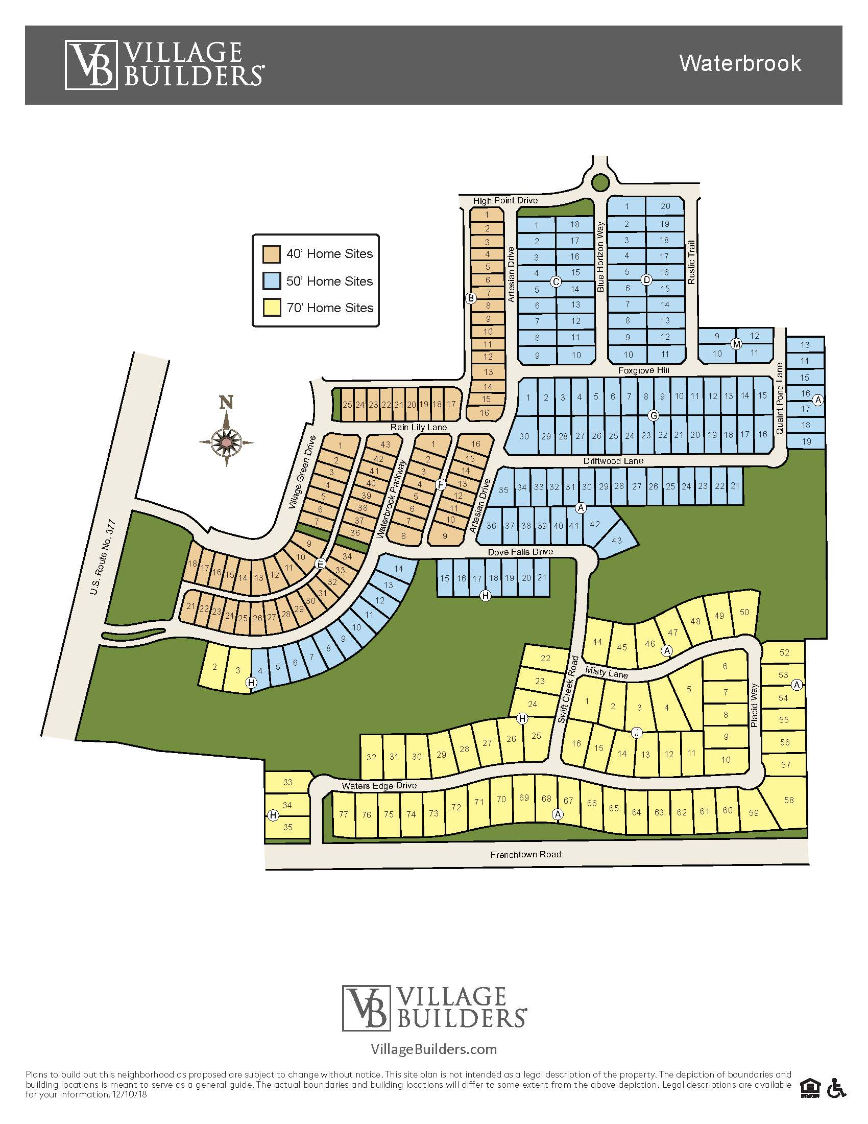 Village Builders Waterbrook New Home Site Plan Argyle TX